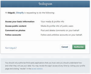 Chirpify Instagram Permissions