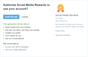 Chirpify Twitter Permissions